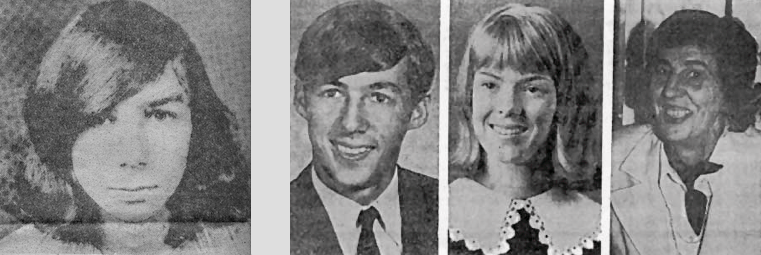 Shown are victims: Michael Mansfield, Jay and Robin Fry, and Ruth Martin
